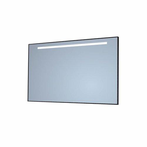 Badkamerspiegel Sanicare Q-Mirrors 'Warm White' LED-Verlichting 70x75x3,5 cm Zwarte Omlijsting