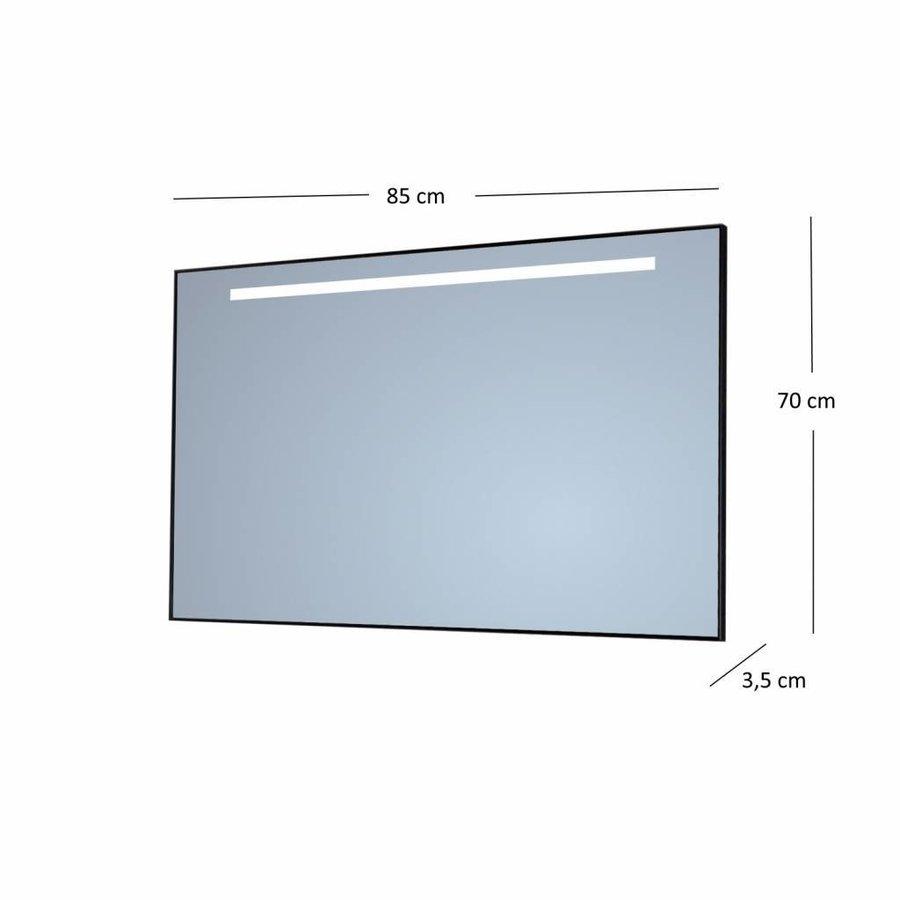 Badkamerspiegel Sanicare Q-Mirrors 'Cool White' LED-Verlichting 70x85x3,5 cm Zwarte Omlijsting