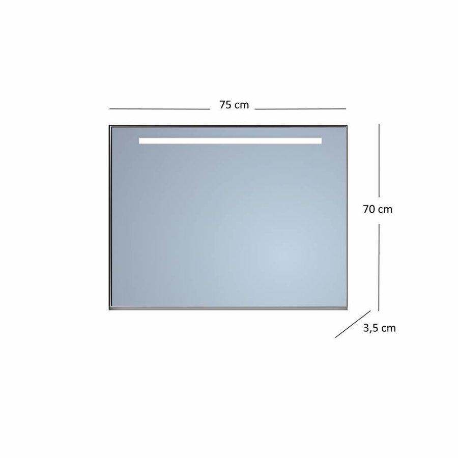 Badkamerspiegel Sanicare Q-Mirrors Ambiance en 'Cold White' LED-verlichting 70x75x3,5 Zwarte Omlijsting
