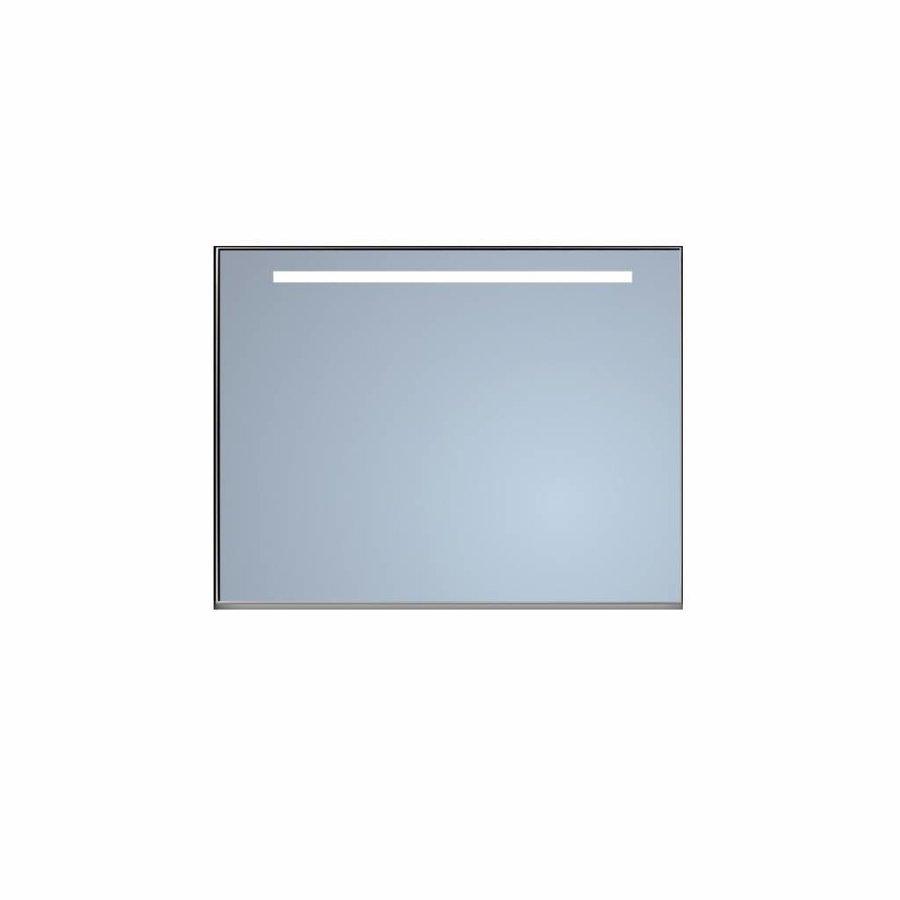 Badkamerspiegel Sanicare Q-Mirrors Ambiance en 'Cold White' LED-verlichting 70x80x3,5 Zwarte Omlijsting