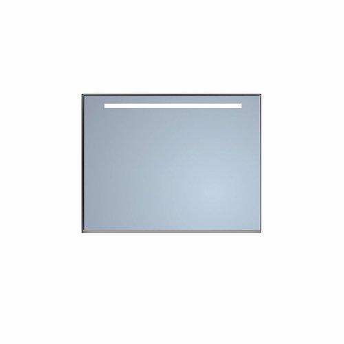 Badkamerspiegel Sanicare Q-Mirrors Ambiance en 'Cold White' LED-verlichting 70x90x3,5 Zwarte Omlijsting