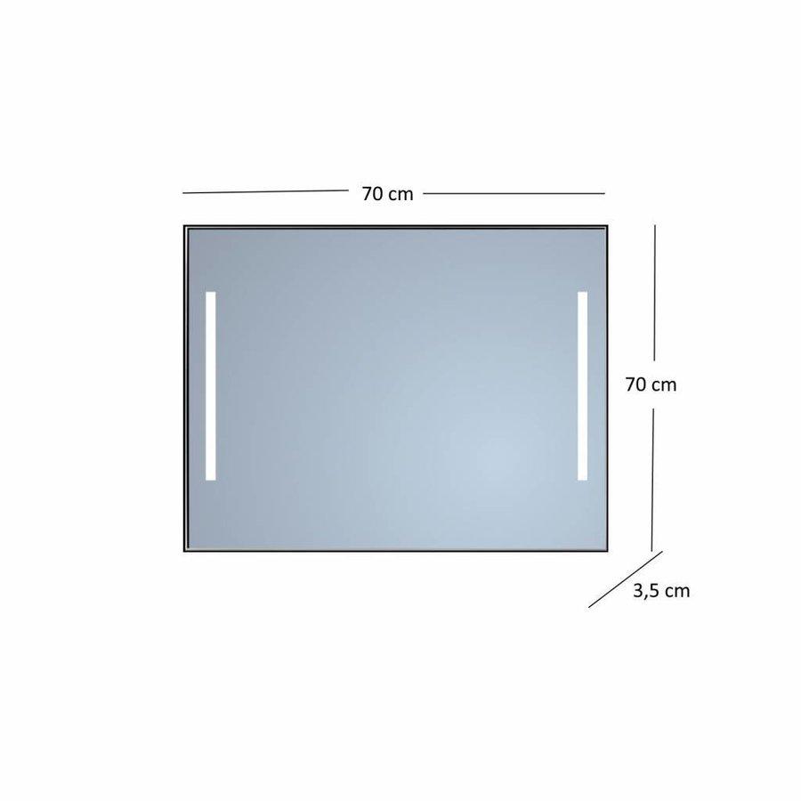 Badkamerspiegel Sanicare Q-Mirrors Twee Verticale Banen 'Warm White' LED-Verlichting 70x70x3,5 cm Zwarte Omlijsting