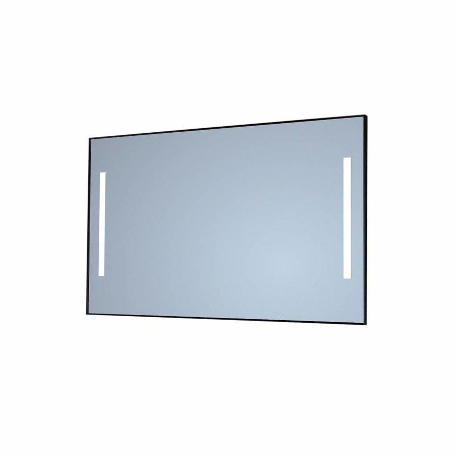 Badkamerspiegel Sanicare Q-Mirrors Twee Verticale Banen 'Warm White' LED-Verlichting 70x75x3,5 cm Zwarte Omlijsting