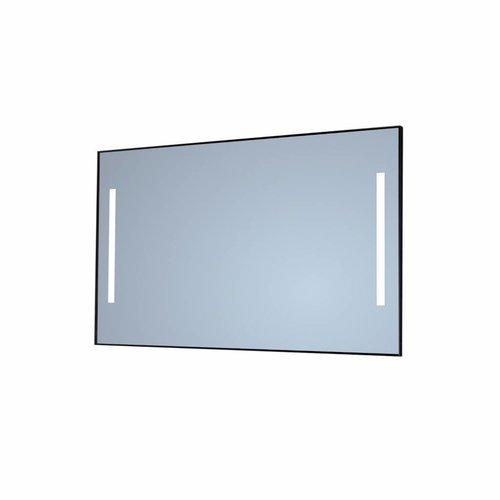 Badkamerspiegel Sanicare Q-Mirrors Twee Verticale Banen 'Warm White' LED-Verlichting 70x120x3,5 cm Zwarte Omlijsting