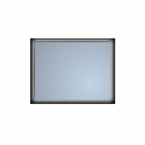 Badkamerspiegel Sanicare Q-Mirrors Ambiance 'Cool White' LED-verlichting Handsensor Schakelaar 70x75x3,5 cm Zwarte Omlijsting