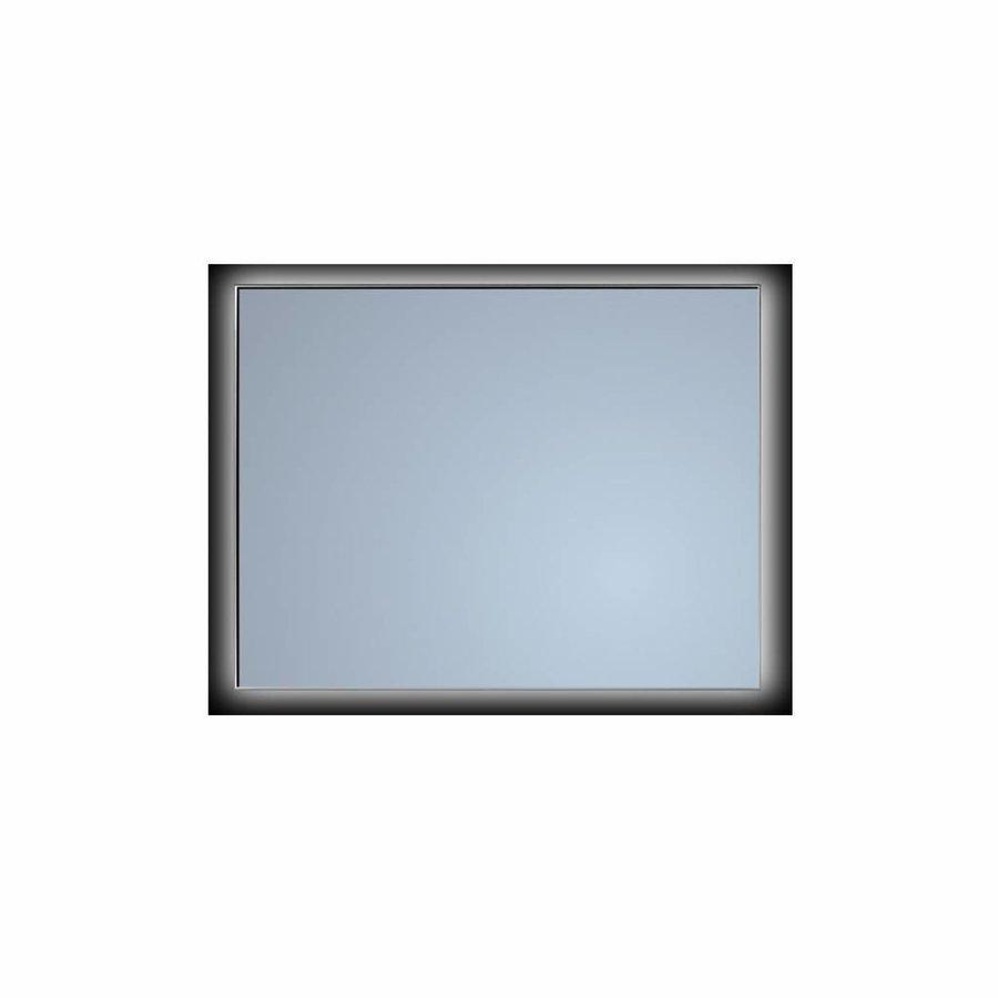 Badkamerspiegel Sanicare Q-Mirrors Ambiance 'Cool White' LED-verlichting Handsensor Schakelaar 70x80x3,5 cm Zwarte Omlijsting