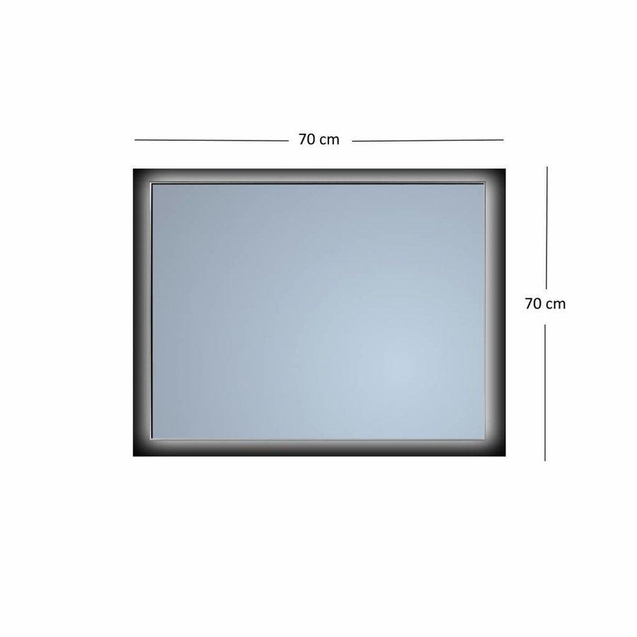 Badkamerspiegel Sanicare Q-Mirrors Ambiance 'Warm White' LED-verlichting Handsensor Schakelaar 70x70x3,5 cm Zwarte Omlijsting