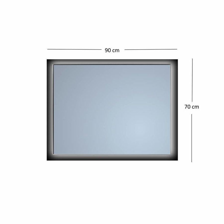 Badkamerspiegel Sanicare Q-Mirrors Ambiance 'Warm White' LED-verlichting Handsensor Schakelaar 70x90x3,5 cm Zwarte Omlijsting