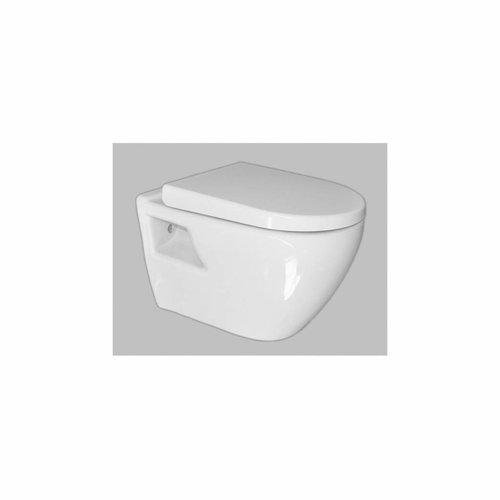 Wandcloset Sanicare Soft-Close Toiletzitting Met Anti-Slip Bumper 51x36 cm Wit Keramiek