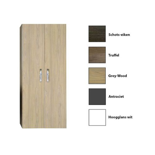 Kolomkast Dubbel Sanicare Q9/Q10/Q11 Soft-Closing Deuren Chromen Greep 160x67x32 cm Grey-Wood