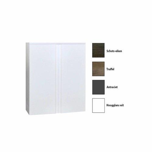 Kolomkast Sanicare Q7 2-Deurs Soft-Closing Greeploos 90x67x32 cm Hoogglans Wit