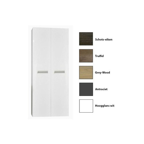 Kolomkast Sanicare Q2/Q3/Q8 2-Deurs Soft-Closing Alu Greep 160x67x32 cm Grey-Wood