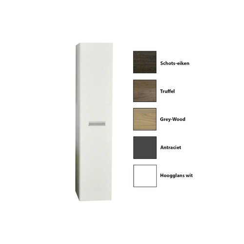 Kolomkast Sanicare Q2/Q3/Q8 Soft-Close Deur Inliggende Alu Greep 160x33,5x32 cm Grey-Wood