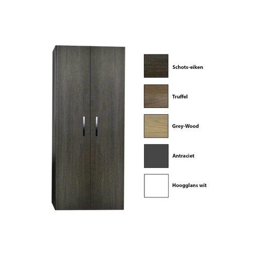 Kolomkast Sanicare Q1/Q4/Q12 2-Deurs Soft-Closing Chromen Greep 160x67x32 cm Grey-Wood