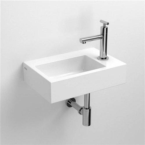 Fontein Clou Flush 2 36x24.5x9cm Keramiek Glans Wit (Met Kraangat Rechts)