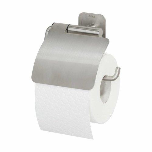 Toiletrolhouder met Klep Tiger Colar RVS Geborsteld