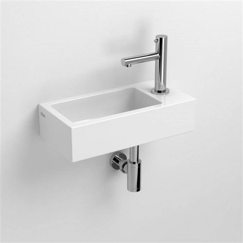 Fontein Clou Flush 3 36x18x9cm Keramiek Glans Wit (Met Kraangat Rechts)