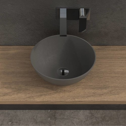 Opbouw Waskom Ideavit Solidthin 39x14,5 cm Solid Surface Mat Donkergrijs