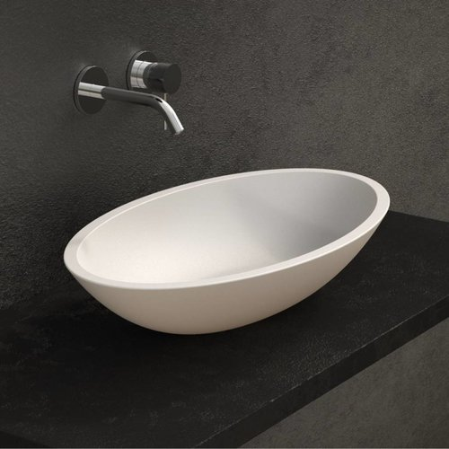 Opbouw Waskom Ideavit Solidjazz 70x40x9 cm Solid Surface Mat Wit