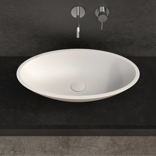 Opbouw Waskom Ideavit Solidfox 60x35x9 cm Solid Surface Mat Wit