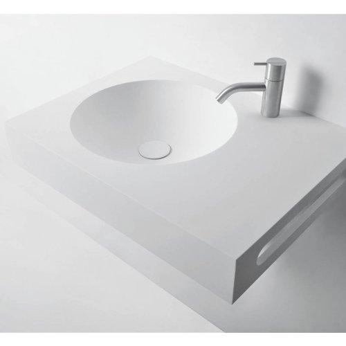 Wastafel Ideavit Solidnext 60x45x10 cm Inclusief Handdoekhouder Solid Surface Mat Wit
