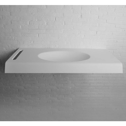 Wastafel Ideavit Solidwave 120x55x10 cm Inclusief Handdoekhouder Solid Surface Mat Wit