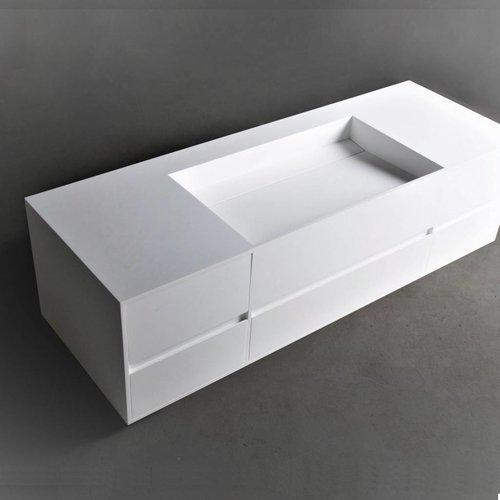 Wastafel Ideavit Solidpure 5D 145x50x40 cm Inclusief Vijf Soft-Close Lades Solid Surface Mat Wit