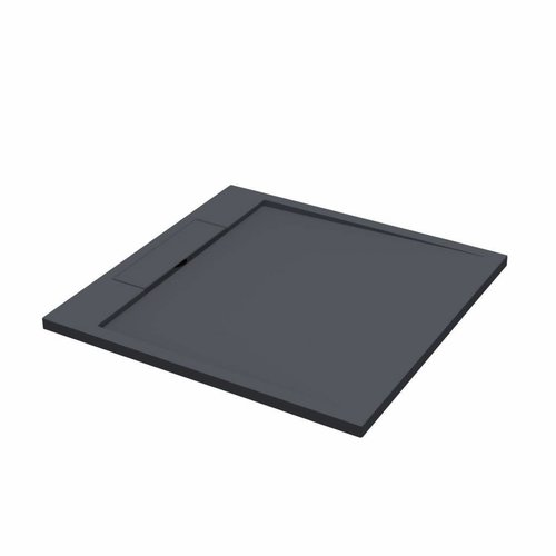 Douchebak Best Design Decent 100x100x3.5cm Solid Surface Mat Zwart
