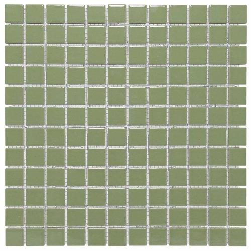 Mozaïektegel The Mosaic Factory Barcelona 23x23 mm Porselein Olijfgroen