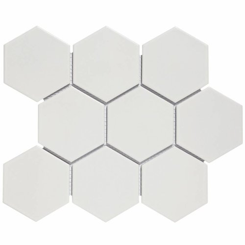 Mozaïektegel The Mosaic Factory Barcelona Hexagon 95x110 mm Porselein Mat Wit