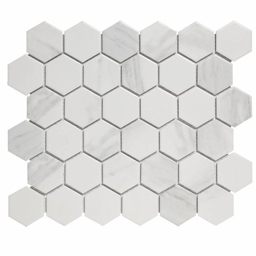 Mozaïektegel The Mosaic Factory Barcelona Hexagon 51x59 mm Carrara Wit