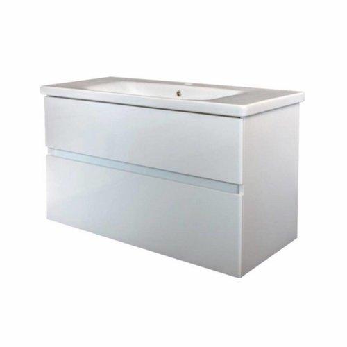 Badkamermeubel Best Design Quick-Greeploos 80x56x44cm Onderkast + Wastafel Wit