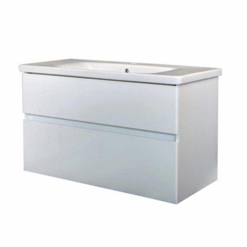 Badkamermeubel Best Design Quick-Greeploos 100x56x44cm Onderkast + Wastafel Wit