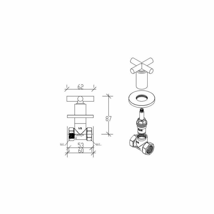 Bidetkraan Cross 1/2x1/2 Chroom