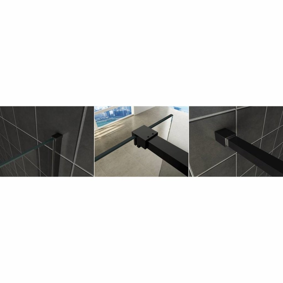 AQS Inloopdouche Pro Line Rookglas 8mm Nano Coating Mat Zwart Profiel en Stang (ALLE MATEN)