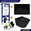 Geberit UP320 Toiletset 49 Wiesbaden Vesta Rimless Mat Zwart Met Mat Zwarte Drukplaat