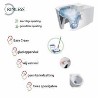 UP320 Toiletset 49 Wiesbaden Vesta Rimless Mat Zwart Met Mat Zwarte Drukplaat