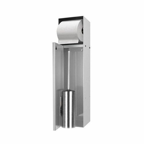 Inbouw Toiletborstelhouder met Toiletrolhouder LoooX Betegelbaar RVS CL9