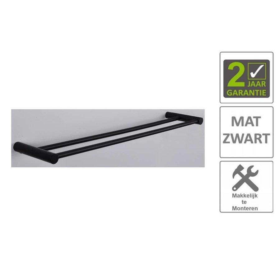 AQS Handdoekrek Mia Dubbel 60cm Mat Zwart