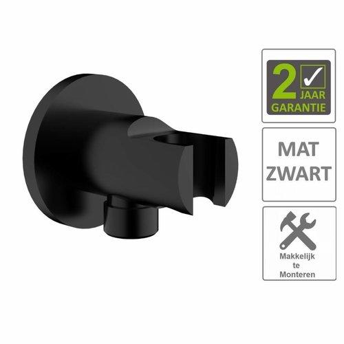 """AQS Doucheaansluiting Luxe Rond Met Opsteek 1/2"""" Messing Mat Zwart"""