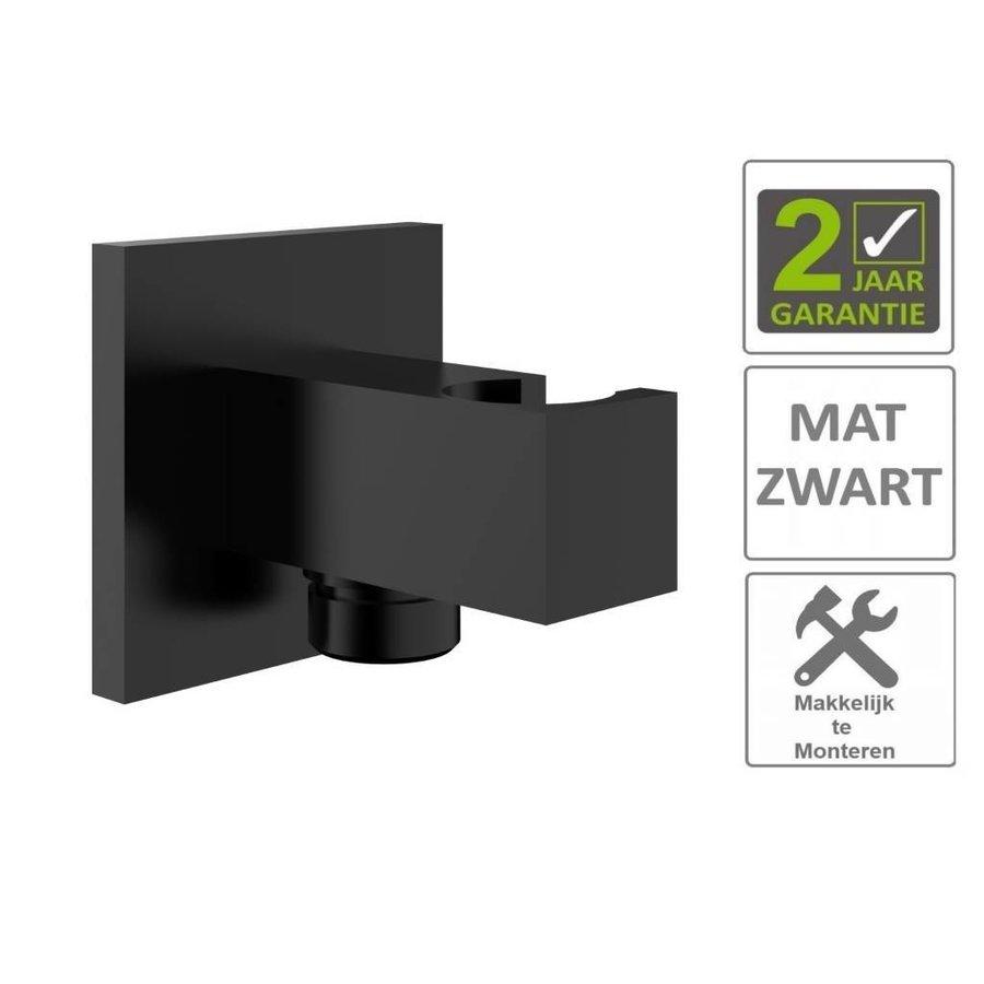 """AQS Doucheaansluiting Luxe Vierkant Met Opsteek 1/2"""" Messing Mat Zwart"""