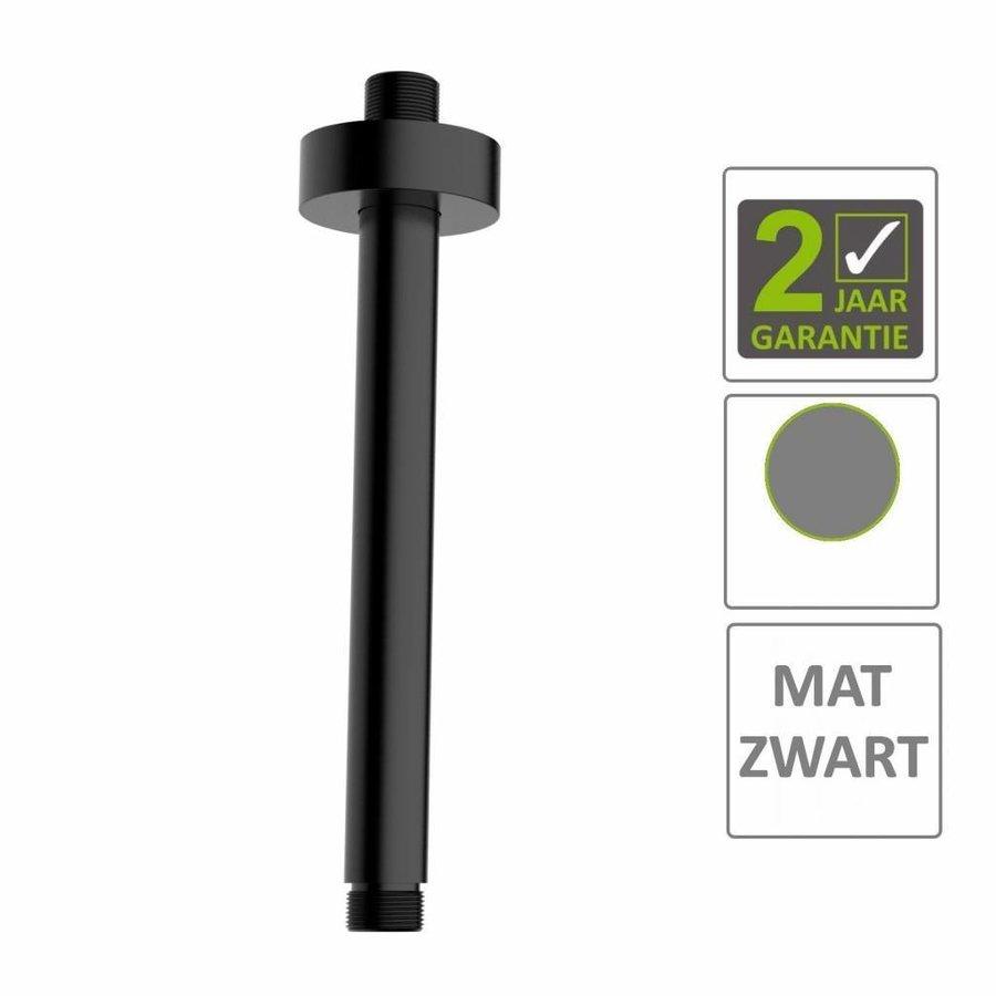 AQS Douchearm Luxe Rond Plafondbevestiging 20cm Mat Zwart