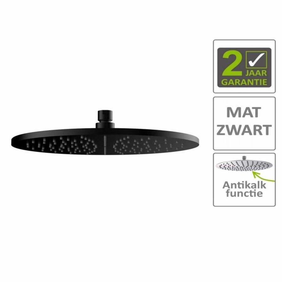 AQS Hoofddouche Luxe Rond 30x30 cm Mat Zwart