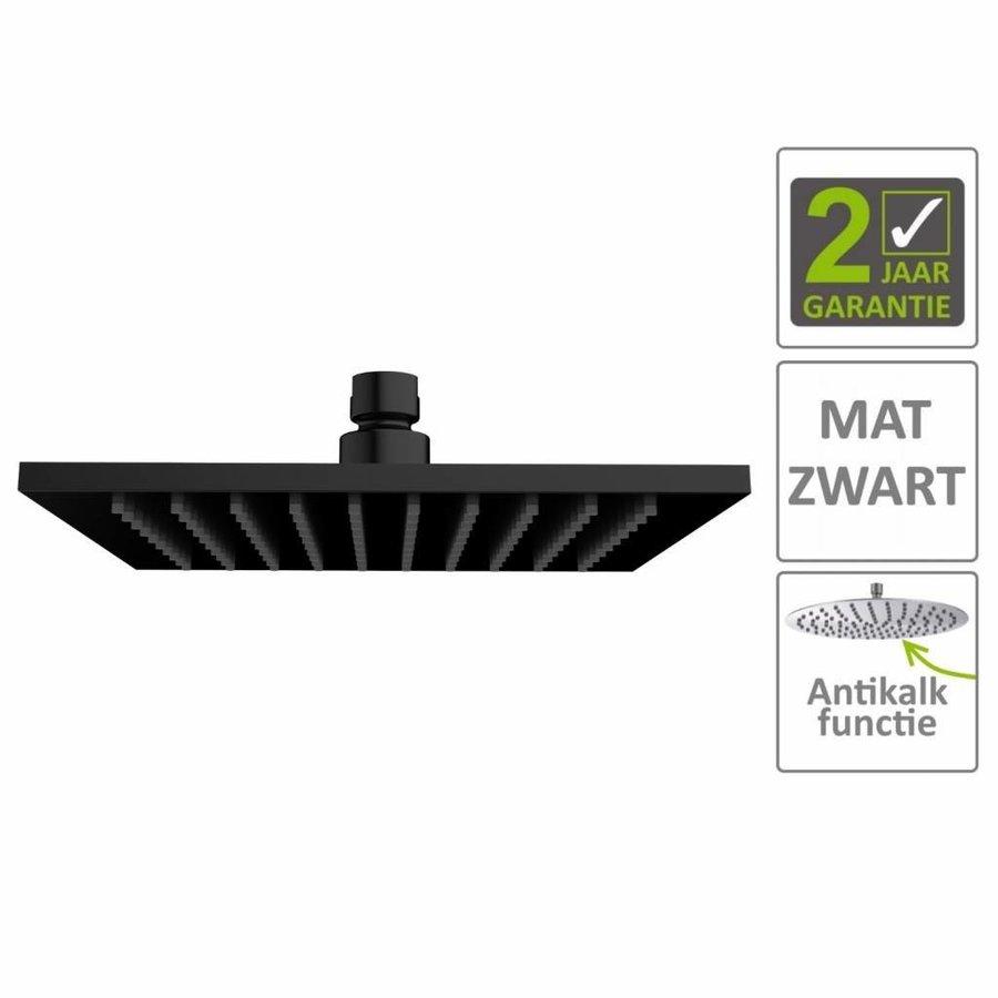AQS Hoofddouche Luxe Vierkant 20x20 cm Mat Zwart