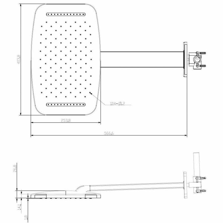 AQS Hoofddouche Met Waterval En Douchearm 40.4x25.4 cm Mat Zwart