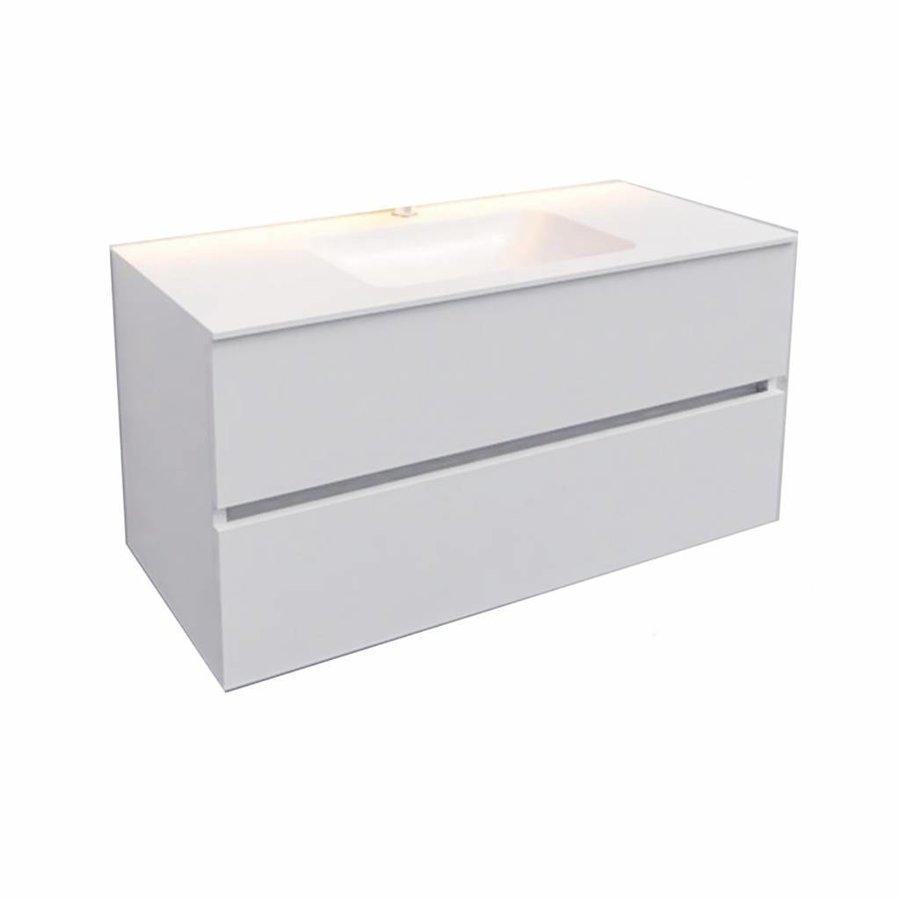 Badkamermeubel Solid Surface AQS Oslo 100x46 cm Midden Mat Wit (zonder kraangaten)