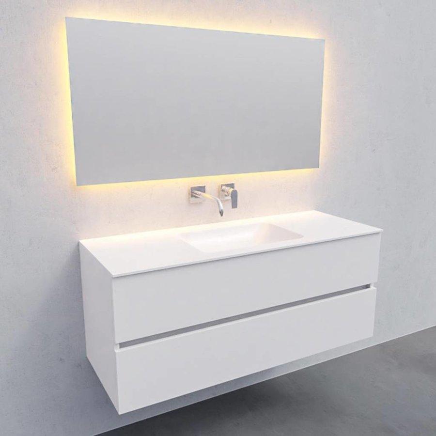 Badkamermeubel Solid Surface AQS Oslo 120x46 cm Midden Mat Wit (zonder kraangaten)