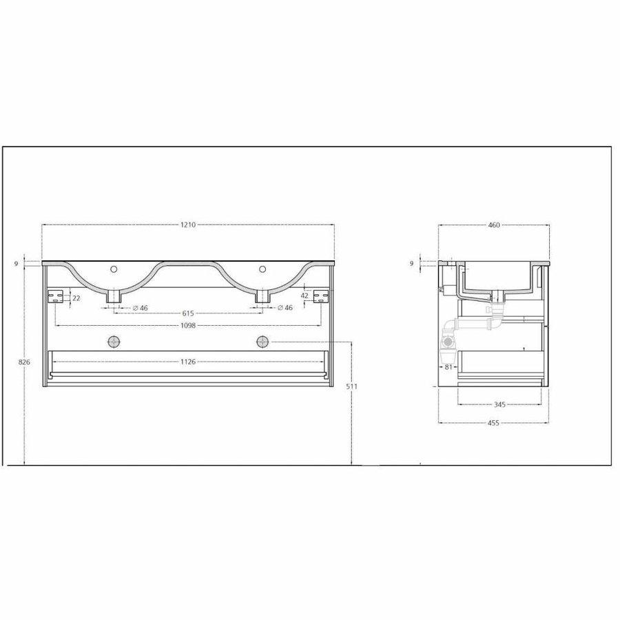 Badkamermeubel Solid Surface AQS Stockholm 120x46 cm Links Mat Wit 4 Laden (zonder kraangaten)