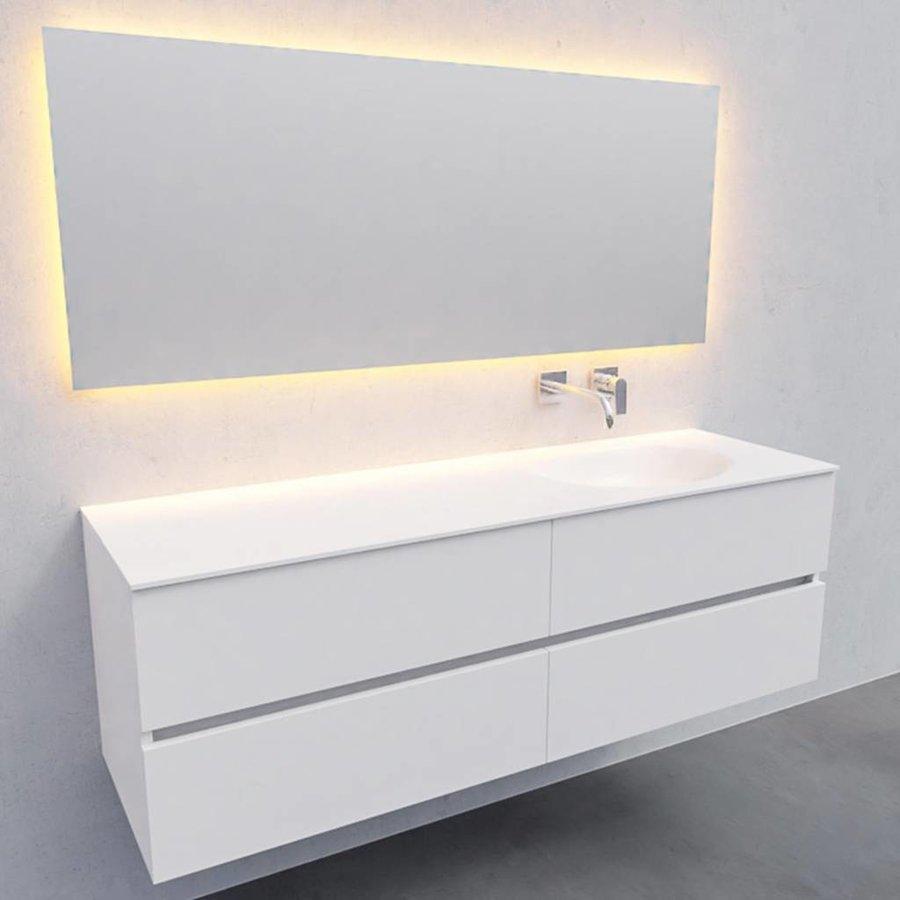 Badkamermeubel Solid Surface AQS Stockholm 150x46 cm Rechts Mat Wit 4 Laden (zonder kraangaten)