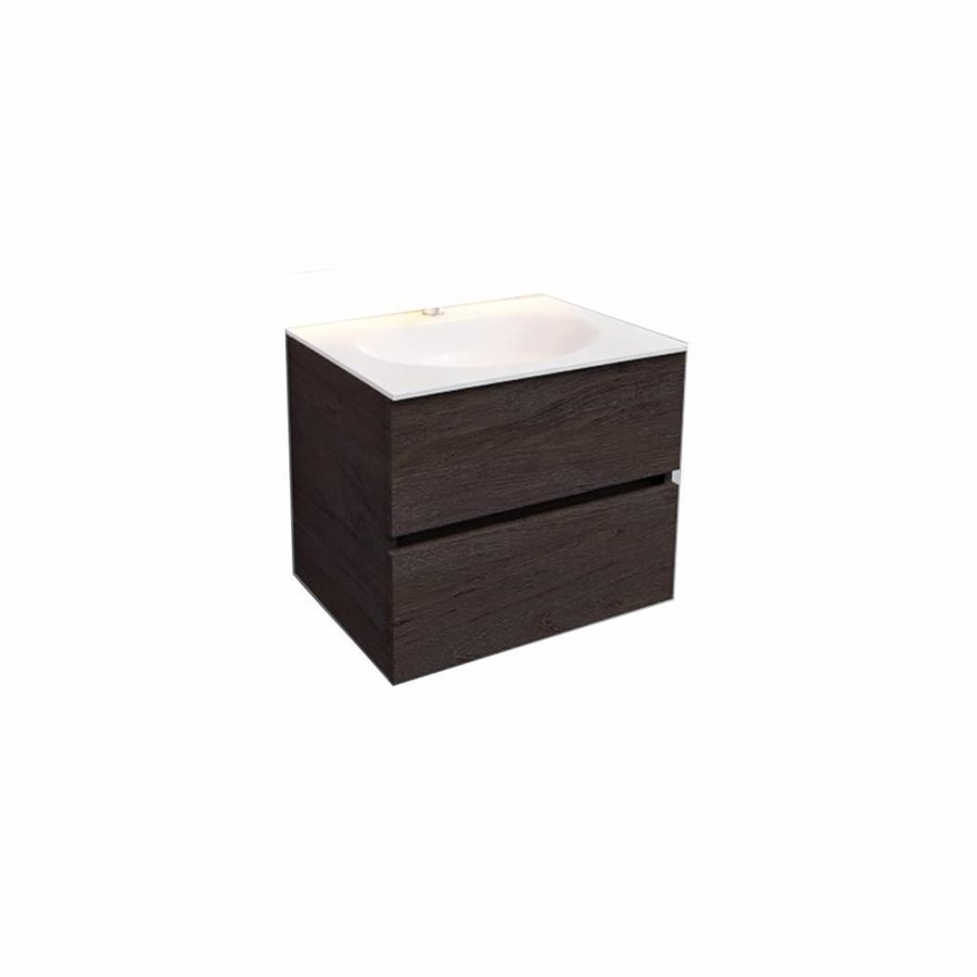 Badkamermeubel Solid Surface AQS Stockholm 60x46 cm Wood Dark Brown (1 kraangat)